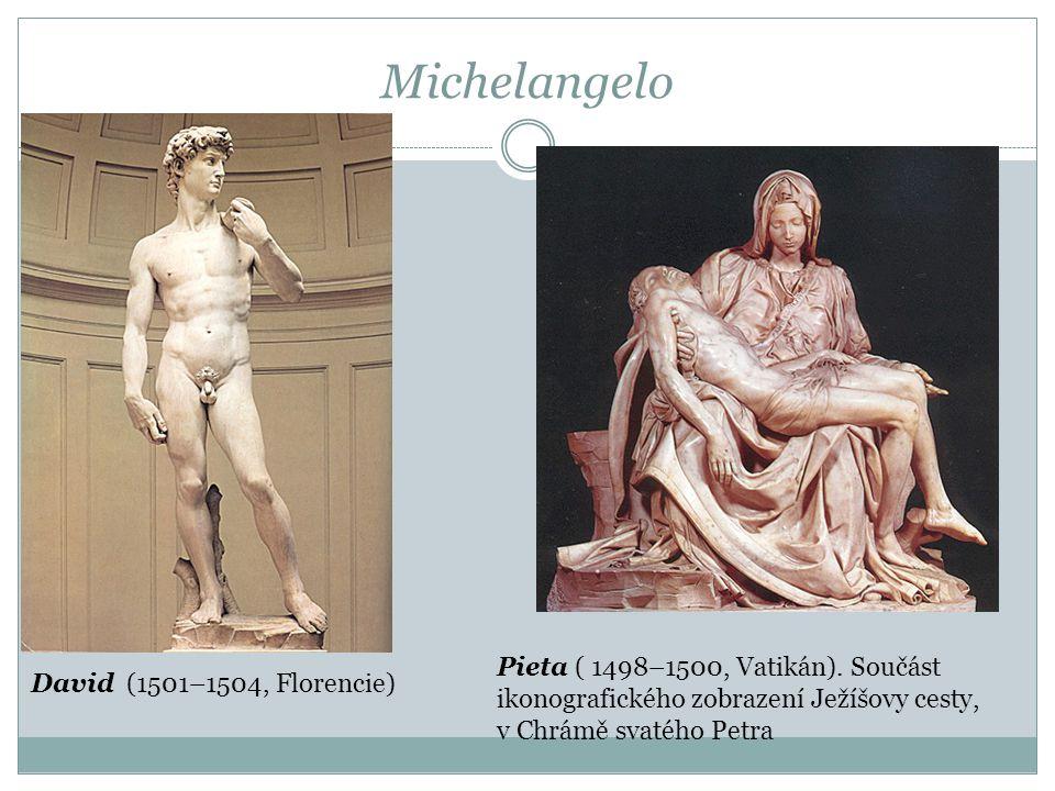 Michelangelo Pieta ( 1498–1500, Vatikán). Součást ikonografického zobrazení Ježíšovy cesty, v Chrámě svatého Petra.