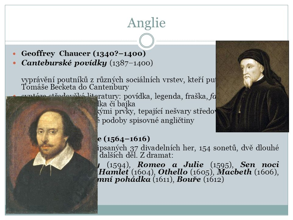 Anglie Canteburské povídky (1387–1400)