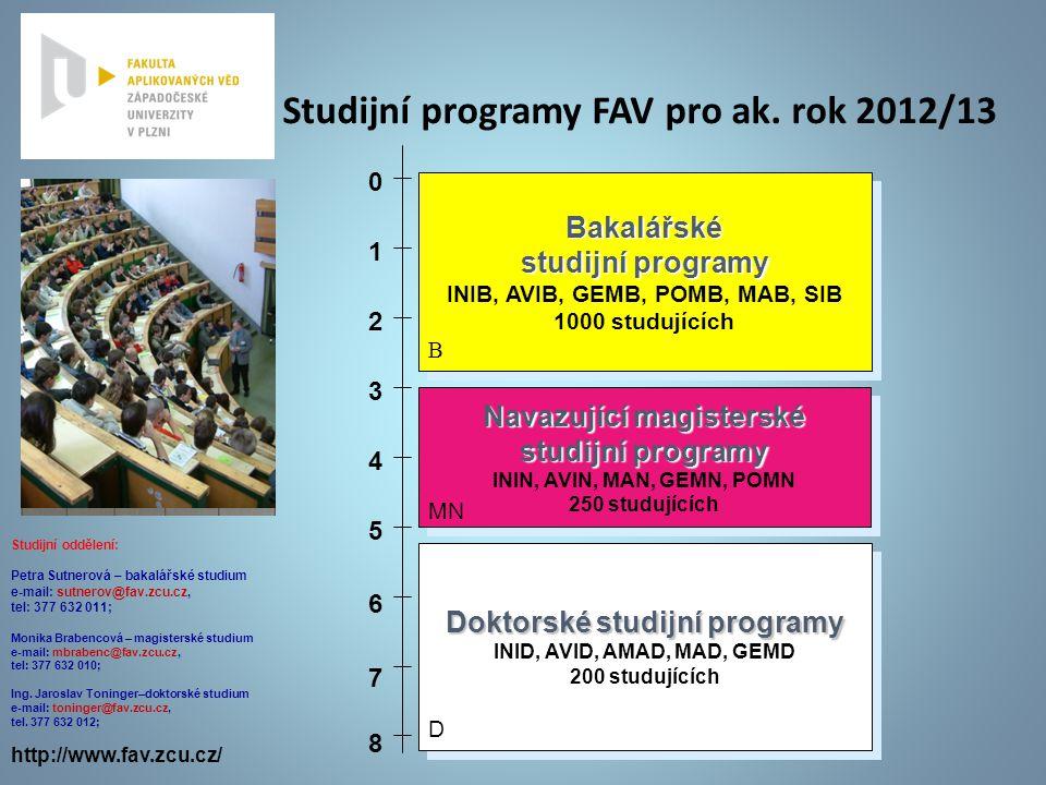 Studijní programy FAV pro ak. rok 2012/13