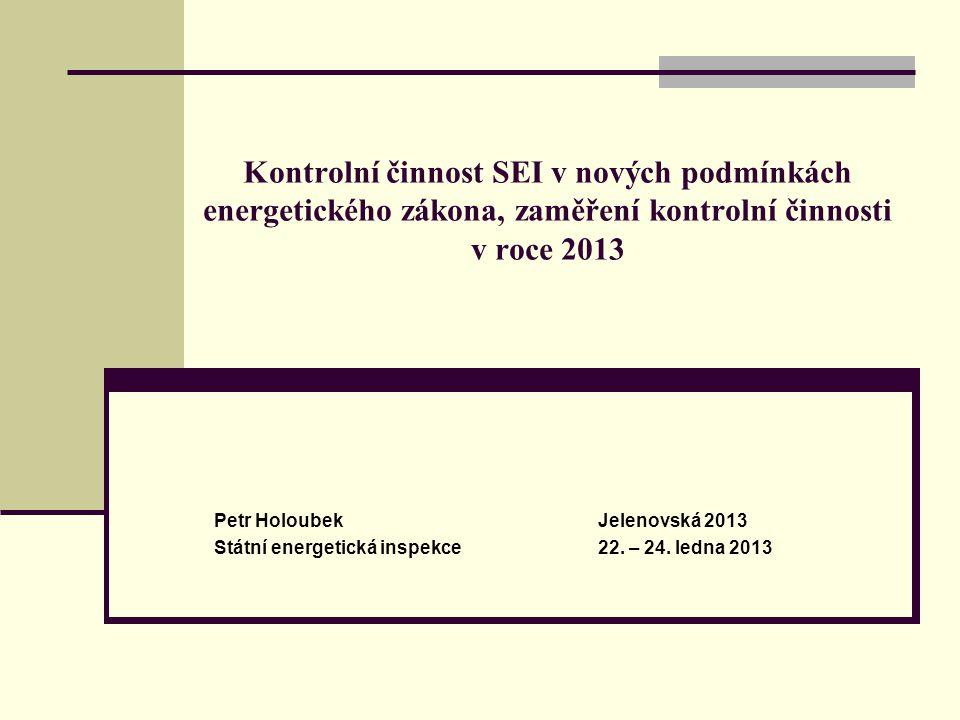 Kontrolní činnost SEI v nových podmínkách energetického zákona, zaměření kontrolní činnosti v roce 2013