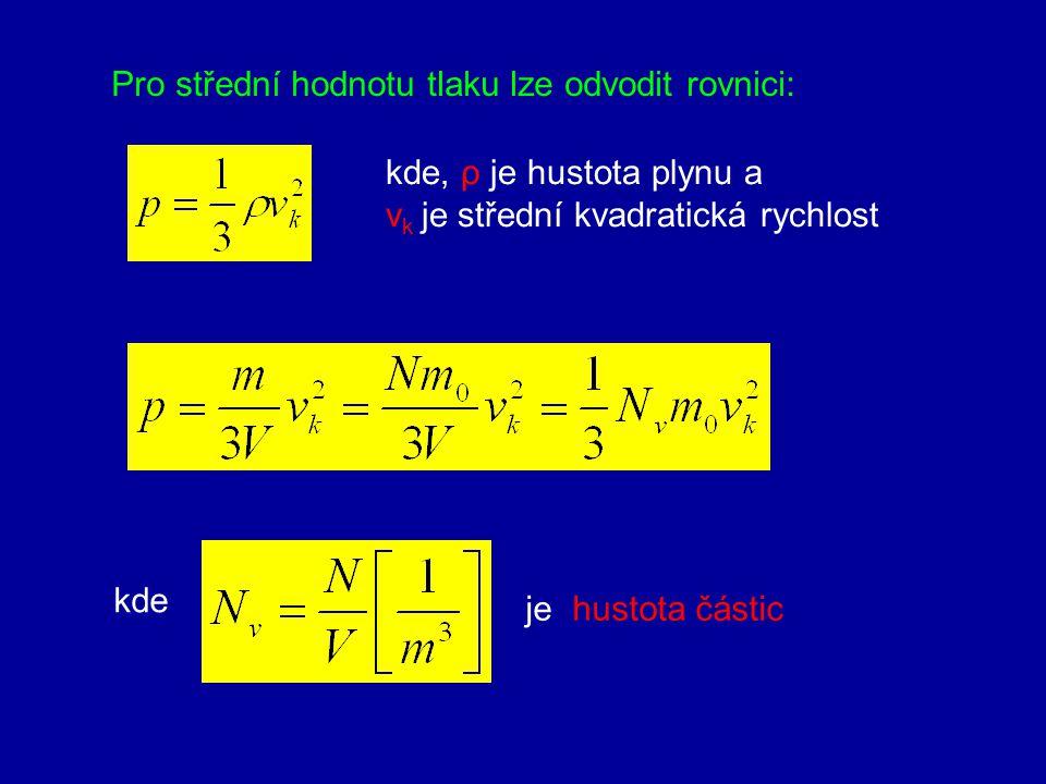 Pro střední hodnotu tlaku lze odvodit rovnici: