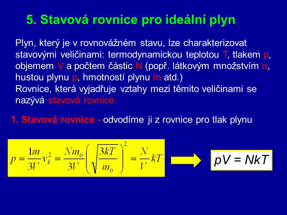 5. Stavová rovnice pro ideální plyn