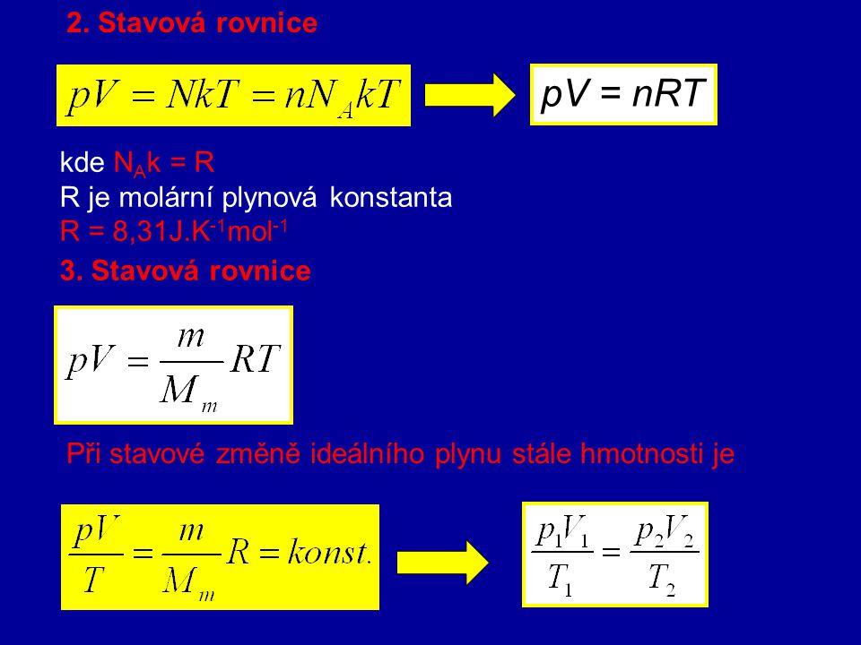 pV = nRT 2. Stavová rovnice kde NAk = R R je molární plynová konstanta