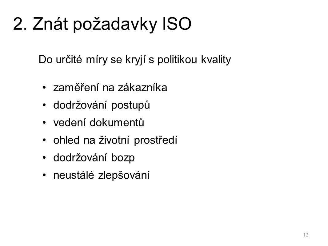 2. Znát požadavky ISO Do určité míry se kryjí s politikou kvality