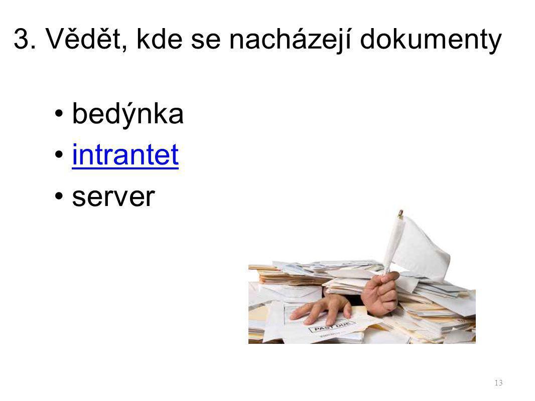 3. Vědět, kde se nacházejí dokumenty
