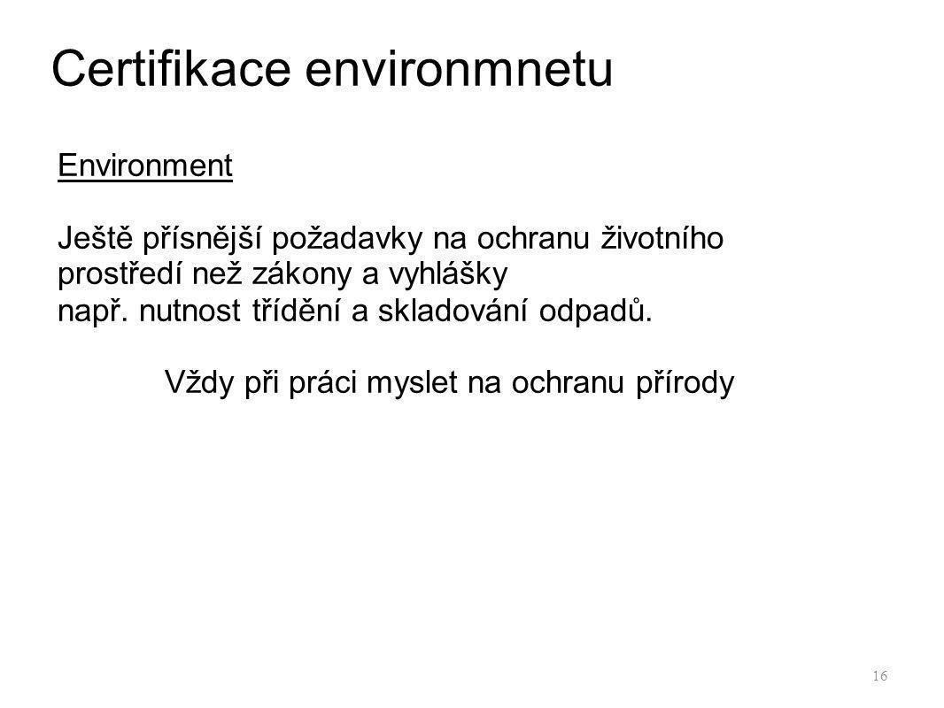 Certifikace environmnetu