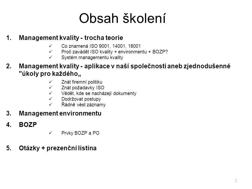 Obsah školení Management kvality - trocha teorie