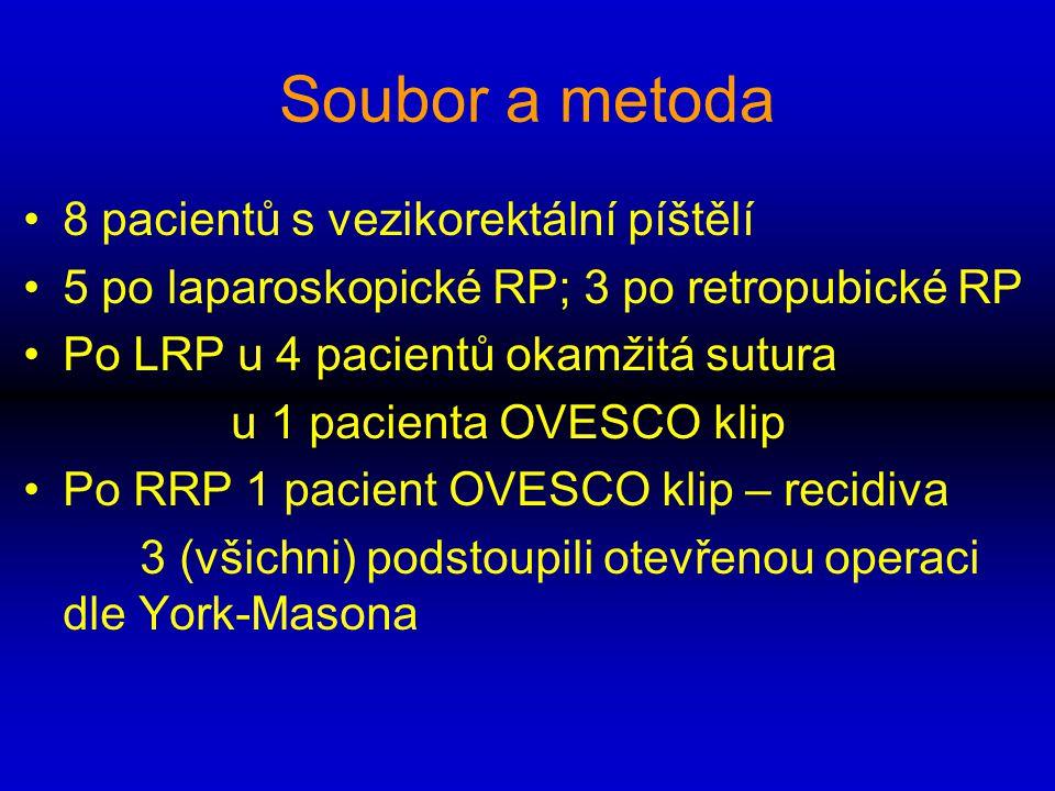 Soubor a metoda 8 pacientů s vezikorektální píštělí