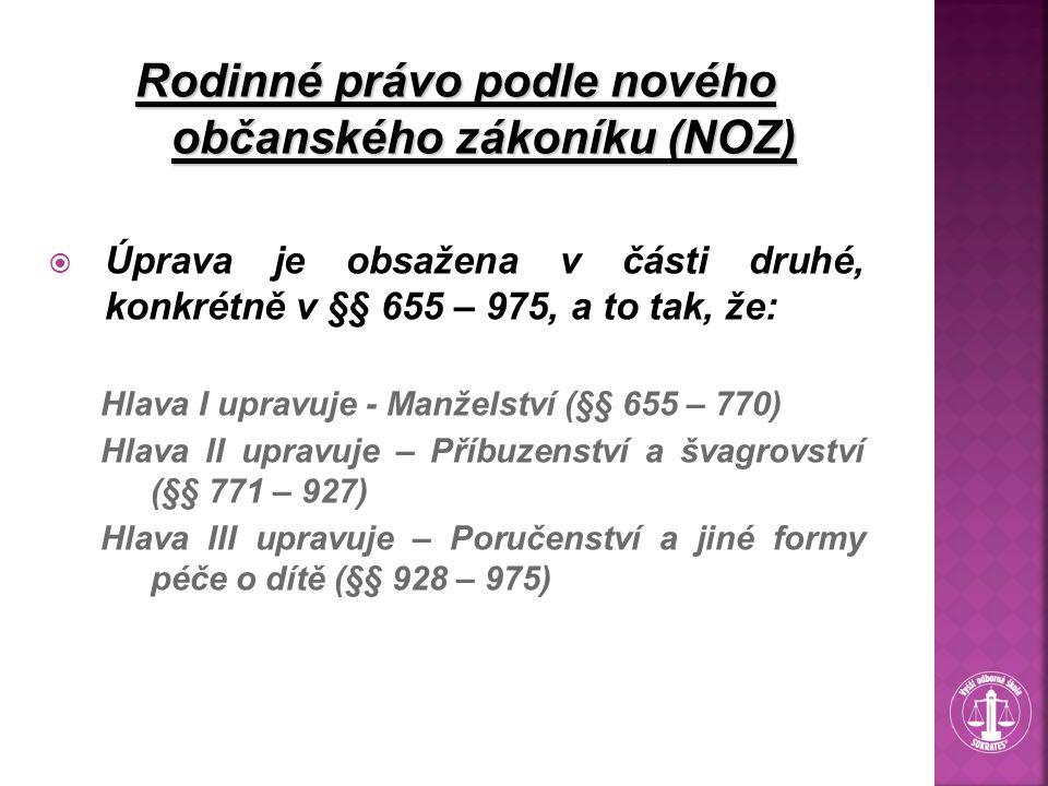 Rodinné právo podle nového občanského zákoníku (NOZ)