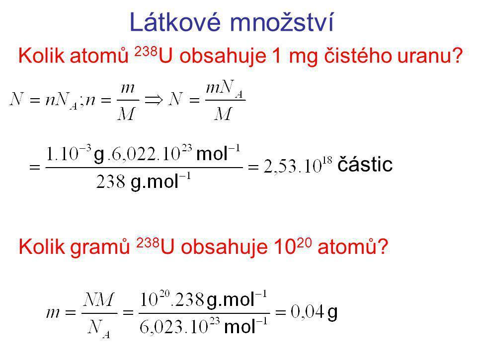 Kolik atomů 238U obsahuje 1 mg čistého uranu