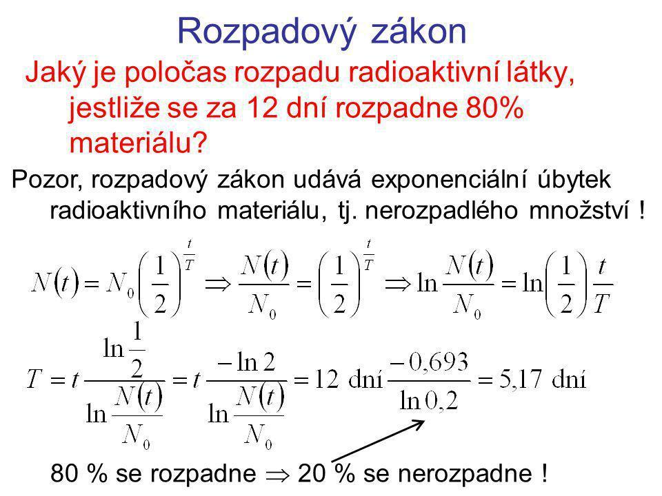 Rozpadový zákon Jaký je poločas rozpadu radioaktivní látky, jestliže se za 12 dní rozpadne 80% materiálu