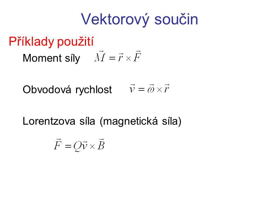 Vektorový součin Příklady použití Moment síly Obvodová rychlost