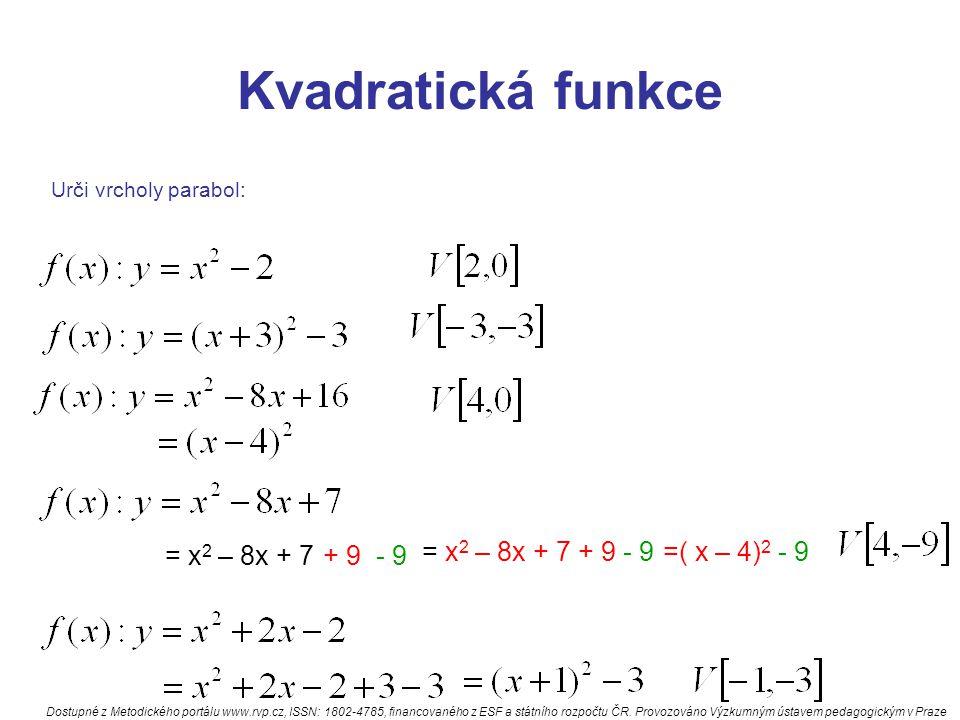 Kvadratická funkce = x2 – 8x + 7 + 9 - 9 = x2 – 8x + 7 + 9 - 9