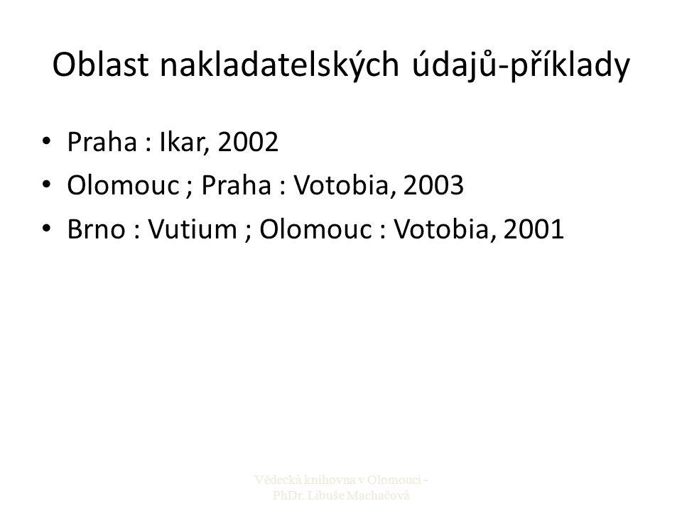 Oblast nakladatelských údajů-příklady