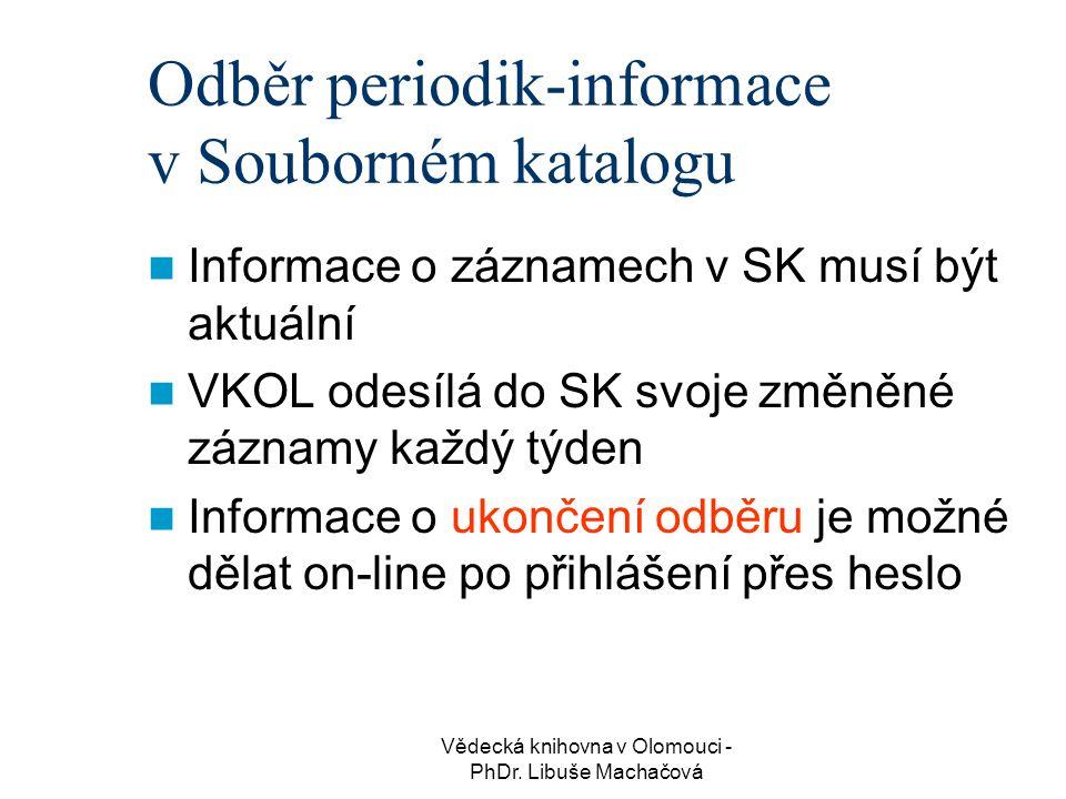 Odběr periodik-informace v Souborném katalogu