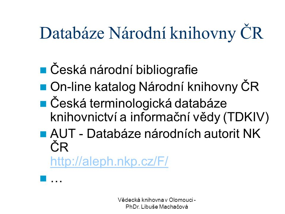 Databáze Národní knihovny ČR