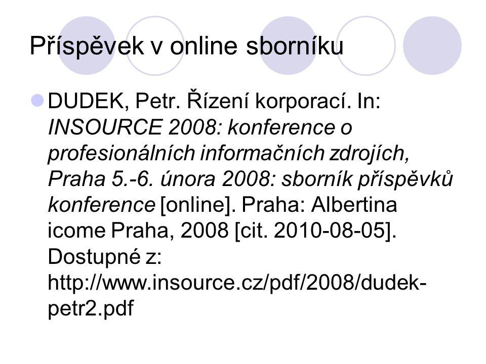 Příspěvek v online sborníku