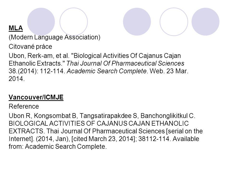 MLA (Modern Language Association) Citované práce.