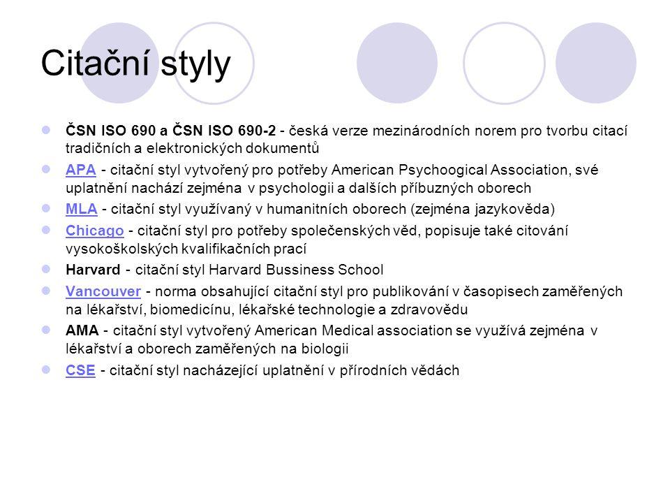Citační styly ČSN ISO 690 a ČSN ISO 690-2 - česká verze mezinárodních norem pro tvorbu citací tradičních a elektronických dokumentů.