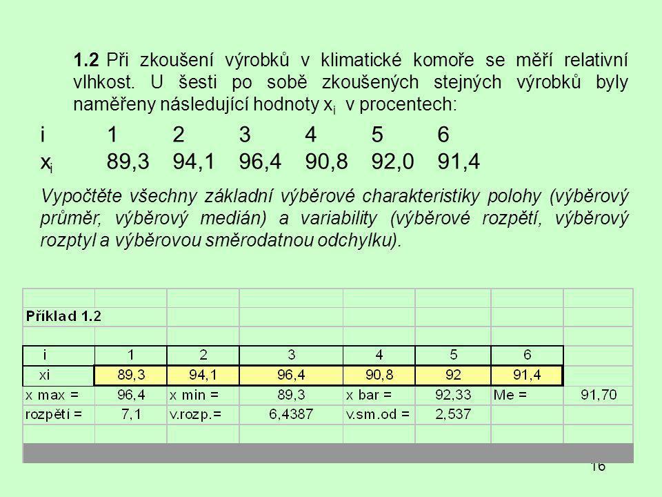 1.2 Při zkoušení výrobků v klimatické komoře se měří relativní vlhkost. U šesti po sobě zkoušených stejných výrobků byly naměřeny následující hodnoty xi v procentech: