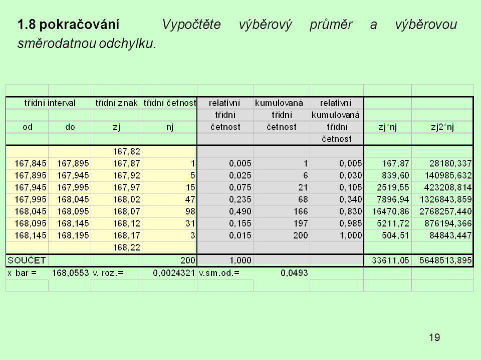 1.8 pokračování Vypočtěte výběrový průměr a výběrovou směrodatnou odchylku.