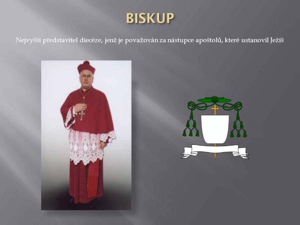 BISKUP Nejvyšší představitel diecéze, jenž je považován za nástupce apoštolů, které ustanovil Ježíš