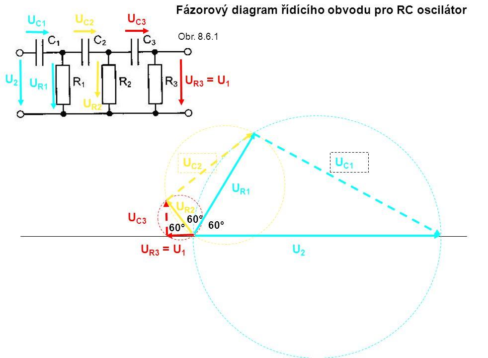 Fázorový diagram řídícího obvodu pro RC oscilátor
