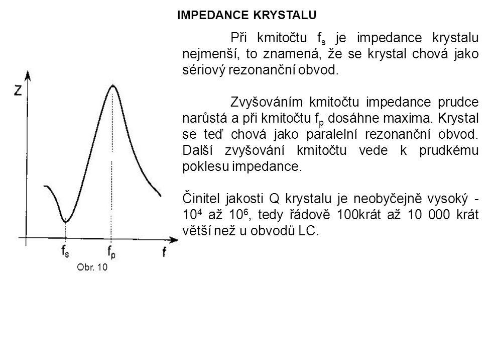 IMPEDANCE KRYSTALU Při kmitočtu fs je impedance krystalu nejmenší, to znamená, že se krystal chová jako sériový rezonanční obvod.