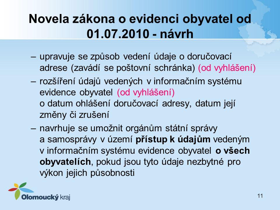 Novela zákona o evidenci obyvatel od 01.07.2010 - návrh