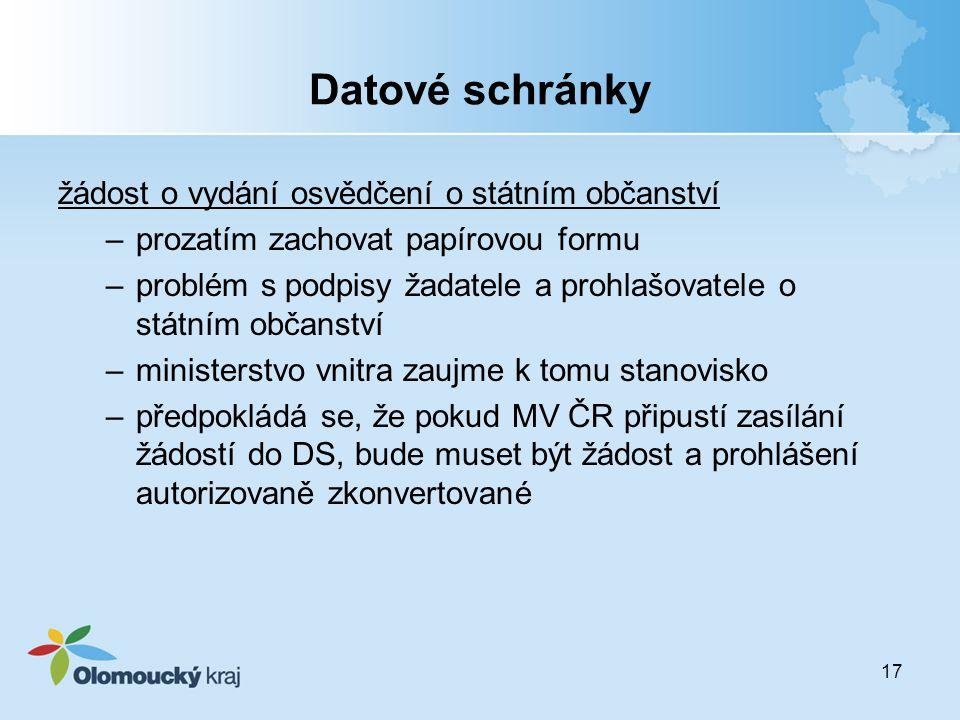 Datové schránky žádost o vydání osvědčení o státním občanství