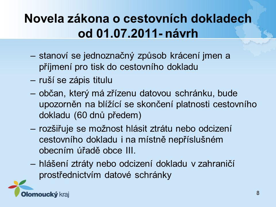 Novela zákona o cestovních dokladech od 01.07.2011- návrh
