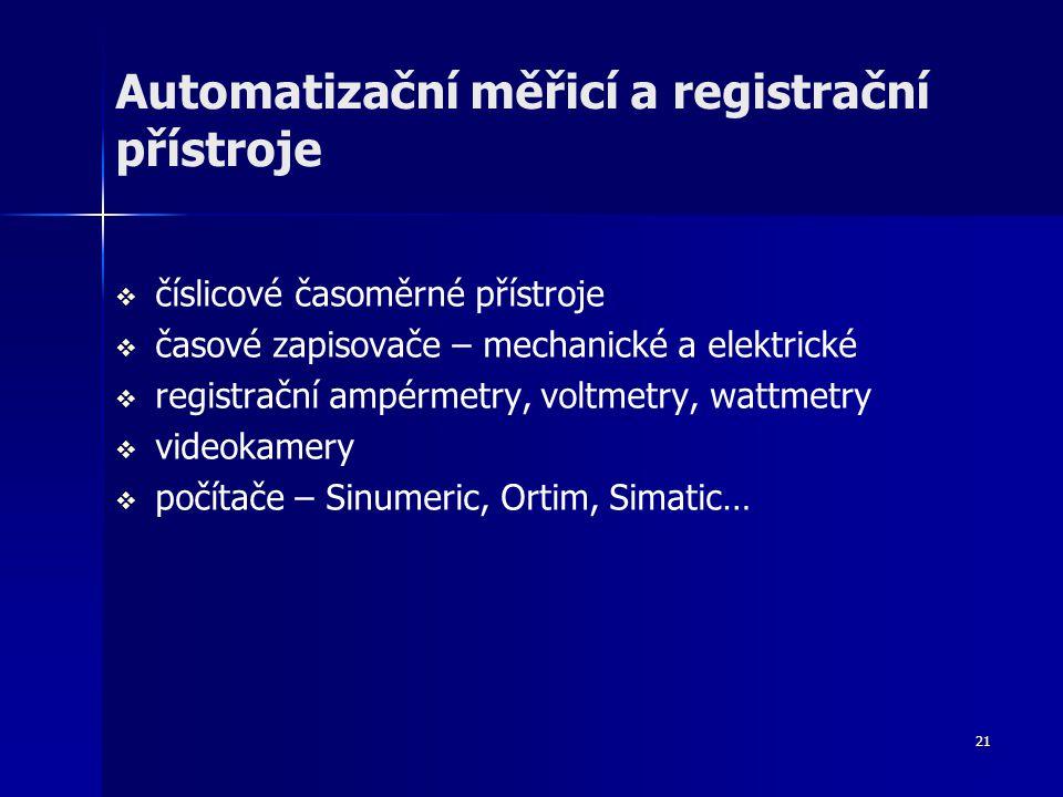 Automatizační měřicí a registrační přístroje