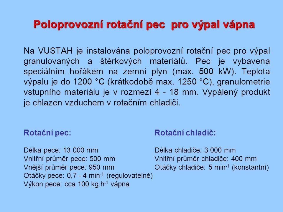 Poloprovozní rotační pec pro výpal vápna