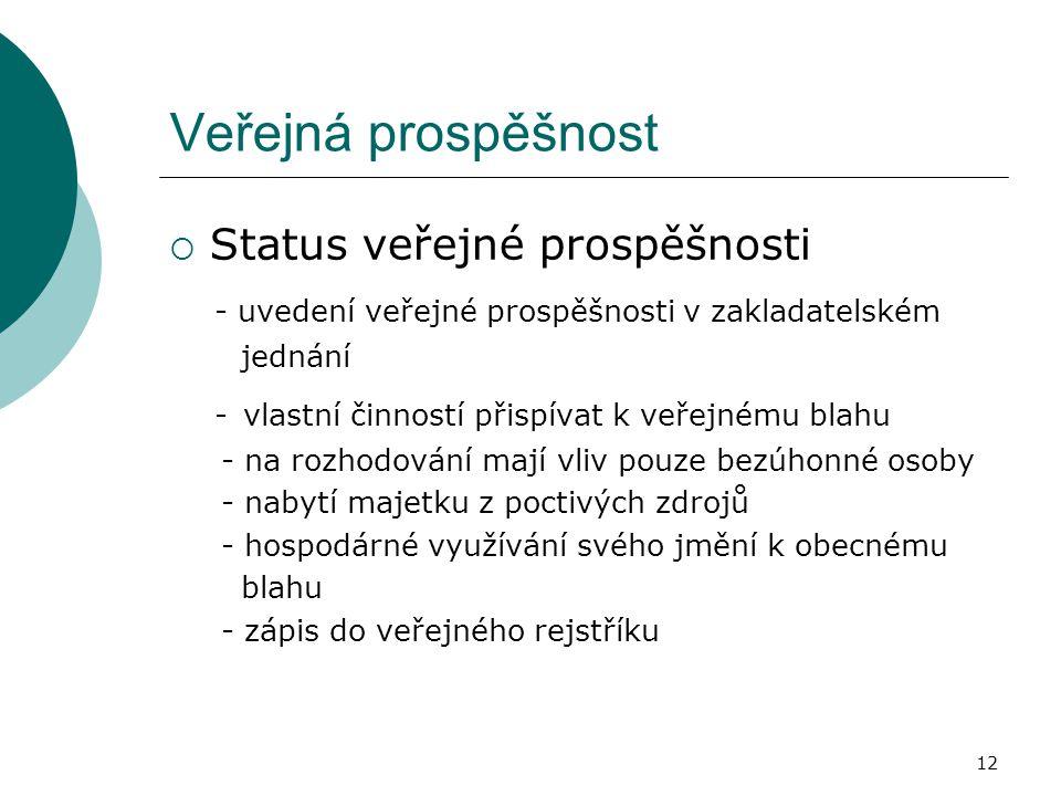 Veřejná prospěšnost Status veřejné prospěšnosti