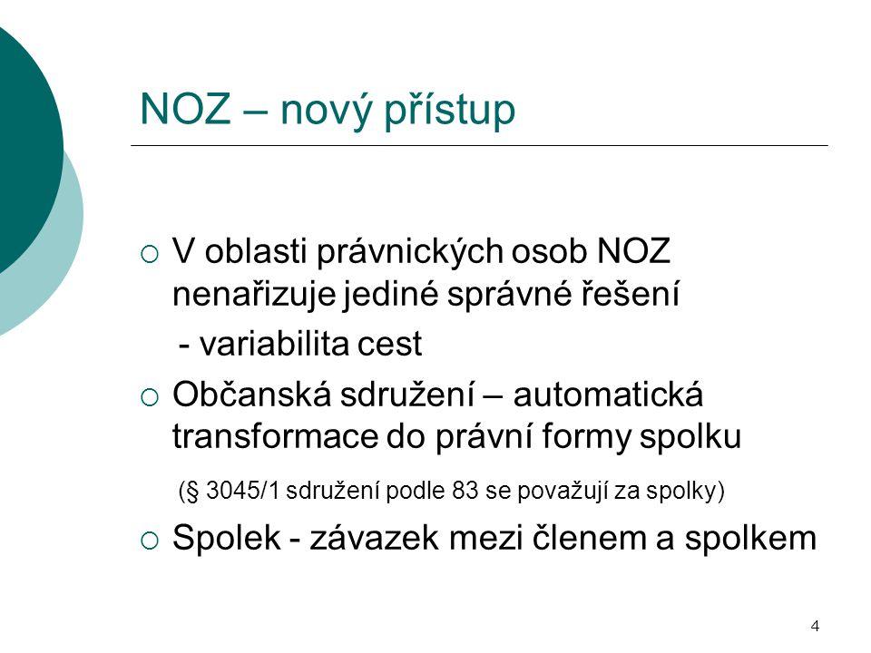 NOZ – nový přístup V oblasti právnických osob NOZ nenařizuje jediné správné řešení. - variabilita cest.