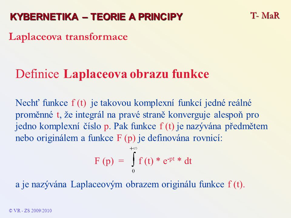 Definice Laplaceova obrazu funkce