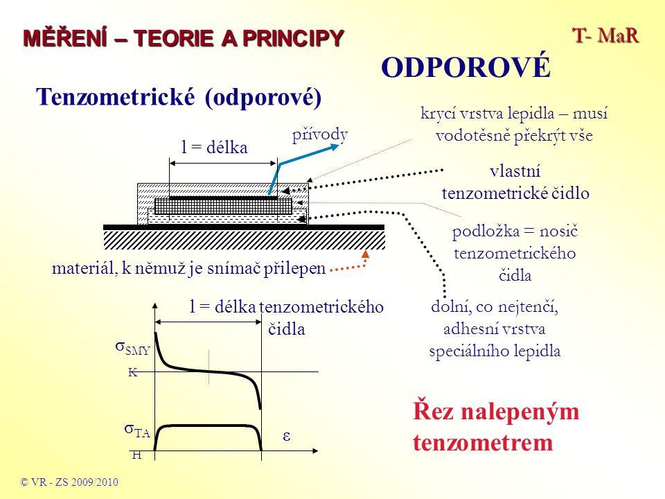 ODPOROVÉ Tenzometrické (odporové) Řez nalepeným tenzometrem T- MaR