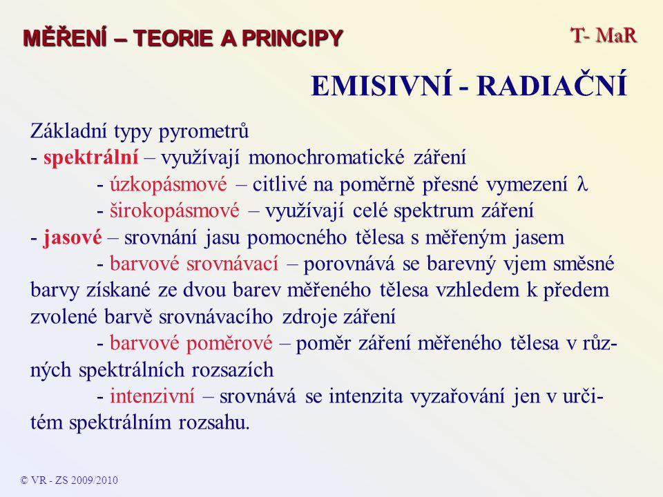 EMISIVNÍ - RADIAČNÍ T- MaR MĚŘENÍ – TEORIE A PRINCIPY