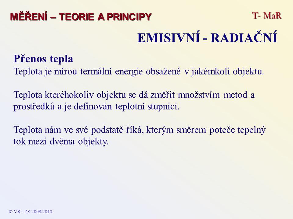 EMISIVNÍ - RADIAČNÍ Přenos tepla T- MaR MĚŘENÍ – TEORIE A PRINCIPY