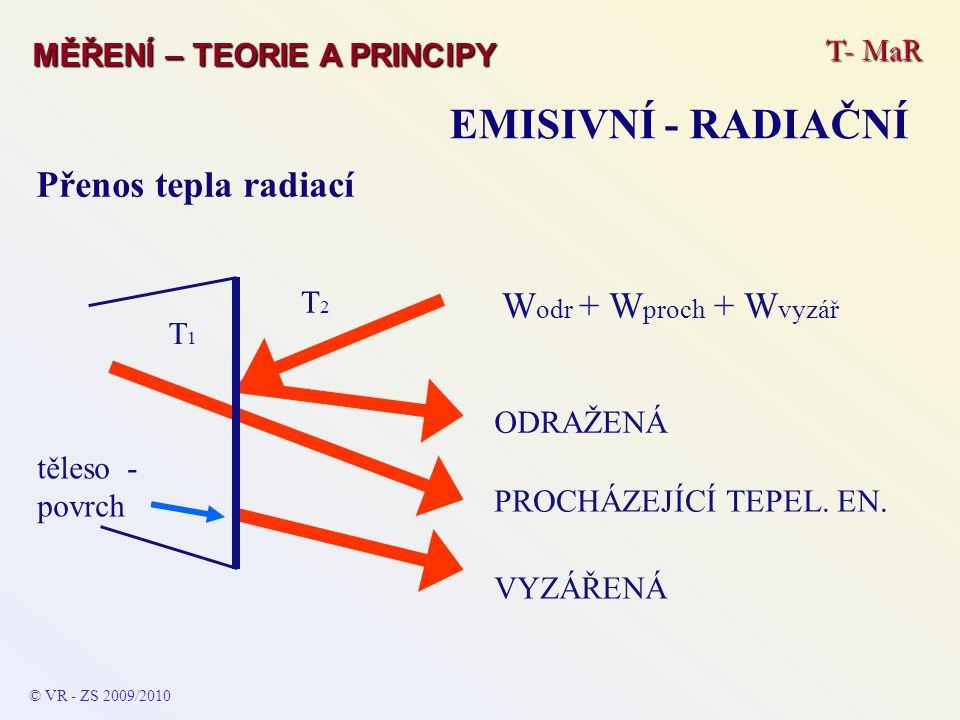 EMISIVNÍ - RADIAČNÍ Přenos tepla radiací Wodr + Wproch + Wvyzář T- MaR
