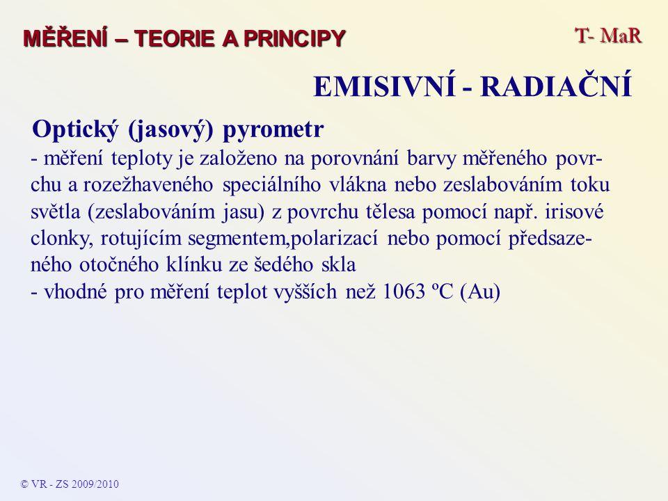 EMISIVNÍ - RADIAČNÍ Optický (jasový) pyrometr T- MaR