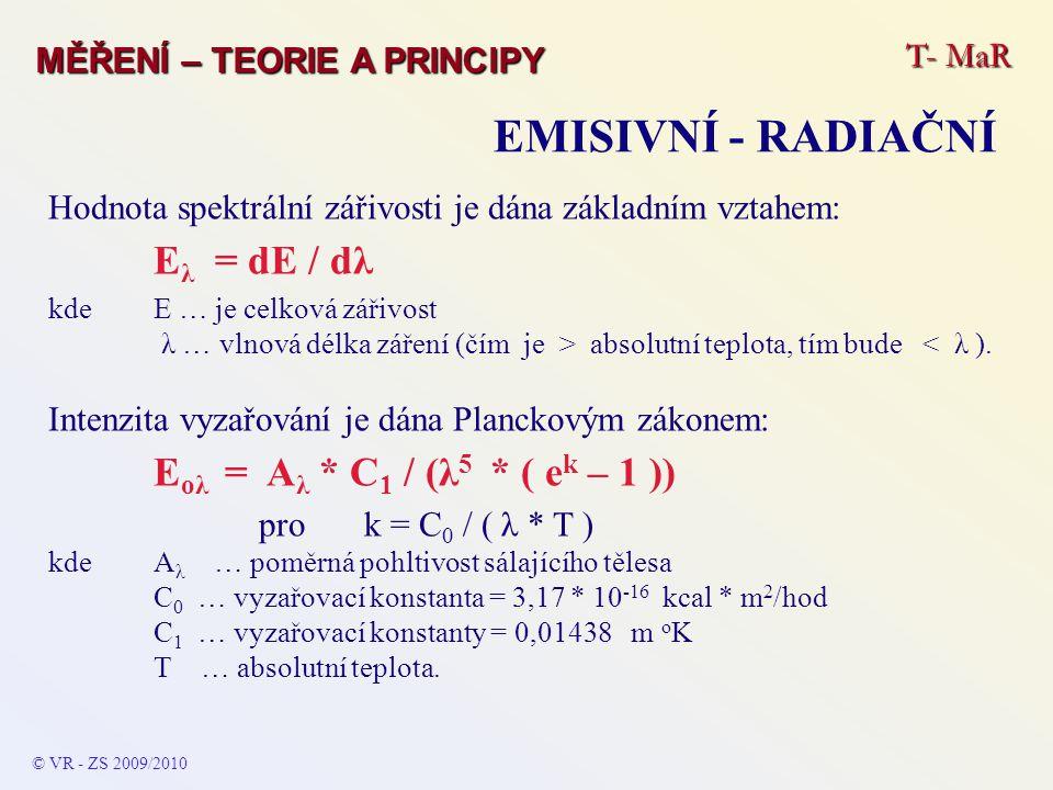 EMISIVNÍ - RADIAČNÍ Eλ = dE / dλ Eoλ = Aλ * C1 / (λ5 * ( ek – 1 ))
