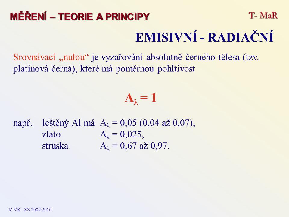 EMISIVNÍ - RADIAČNÍ Aλ = 1 T- MaR MĚŘENÍ – TEORIE A PRINCIPY