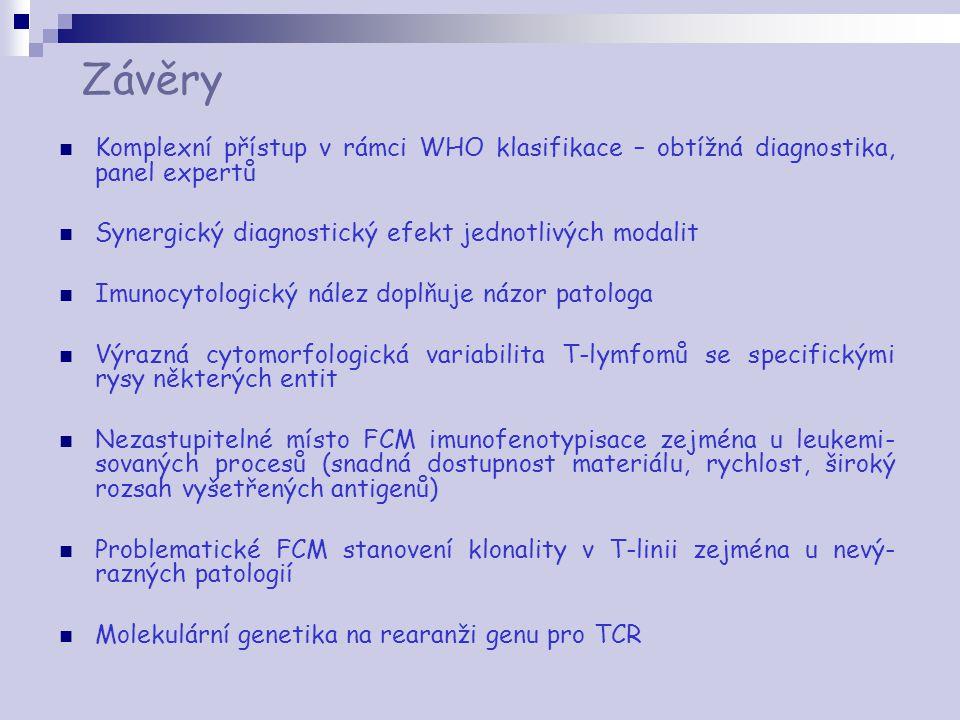 Závěry Komplexní přístup v rámci WHO klasifikace – obtížná diagnostika, panel expertů. Synergický diagnostický efekt jednotlivých modalit.