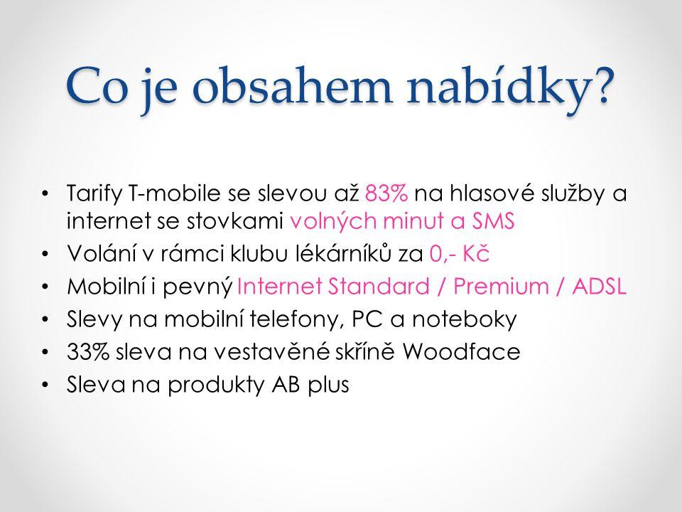 Co je obsahem nabídky Tarify T-mobile se slevou až 83% na hlasové služby a internet se stovkami volných minut a SMS.