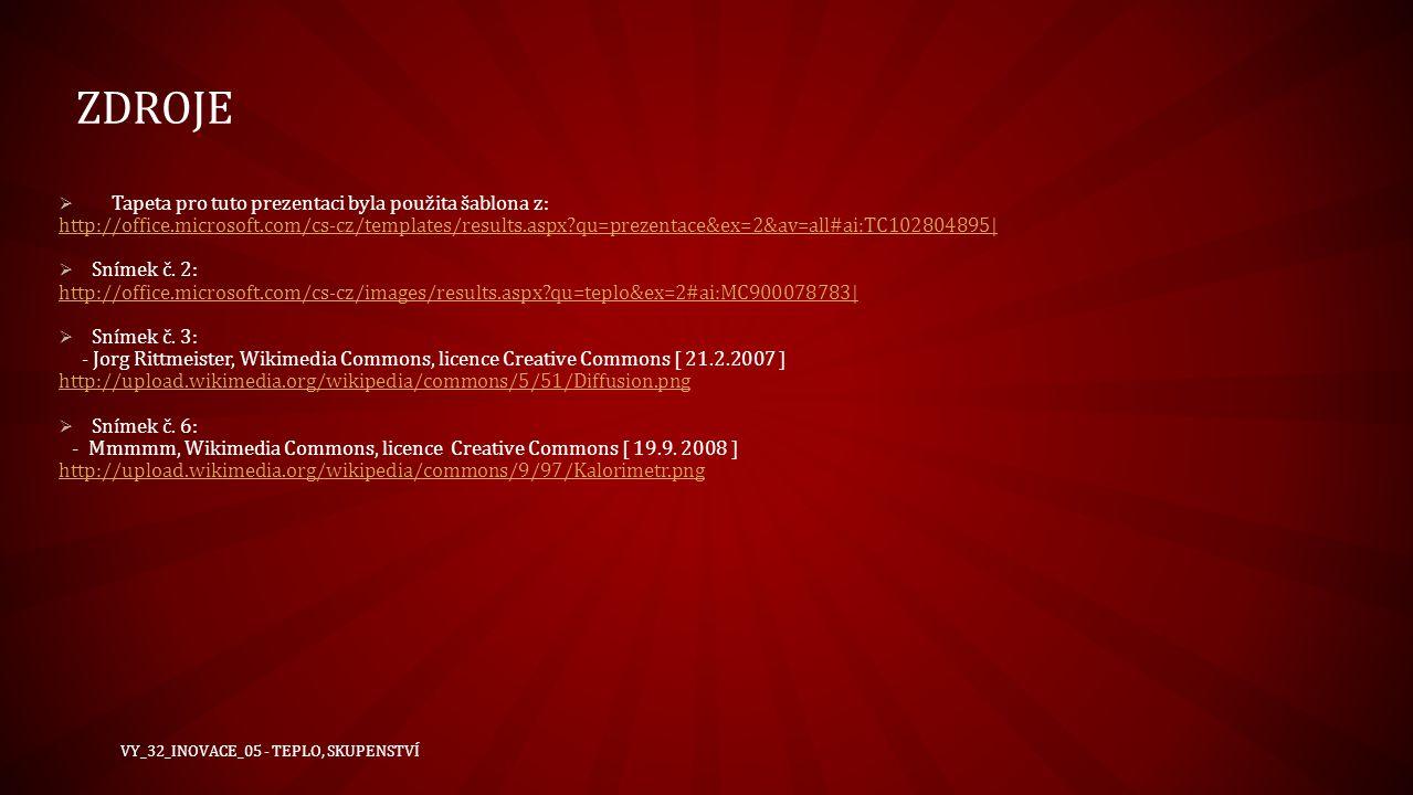 zdroje Tapeta pro tuto prezentaci byla použita šablona z: