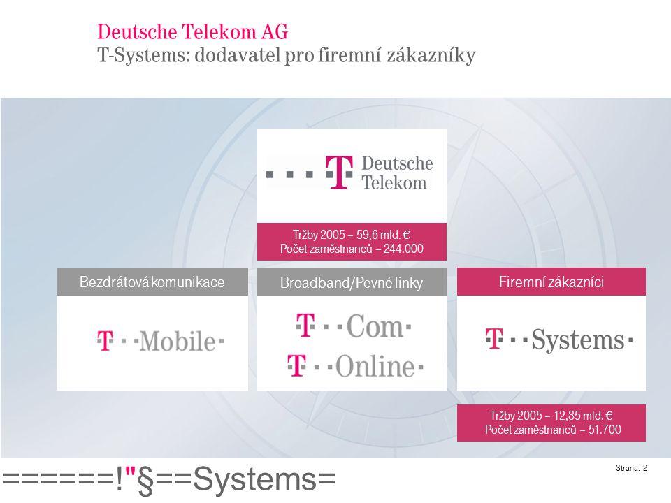 Deutsche Telekom AG T-Systems: dodavatel pro firemní zákazníky
