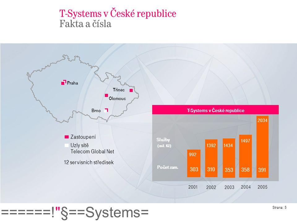 T-Systems v České republice Fakta a čísla
