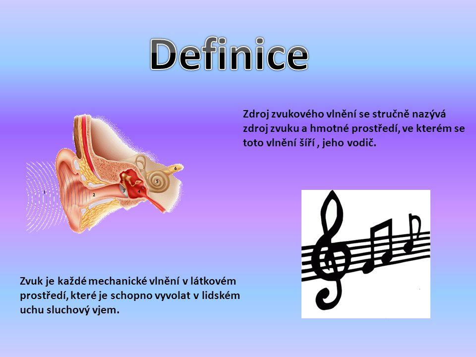 Definice Zdroj zvukového vlnění se stručně nazývá zdroj zvuku a hmotné prostředí, ve kterém se toto vlnění šíří , jeho vodič.