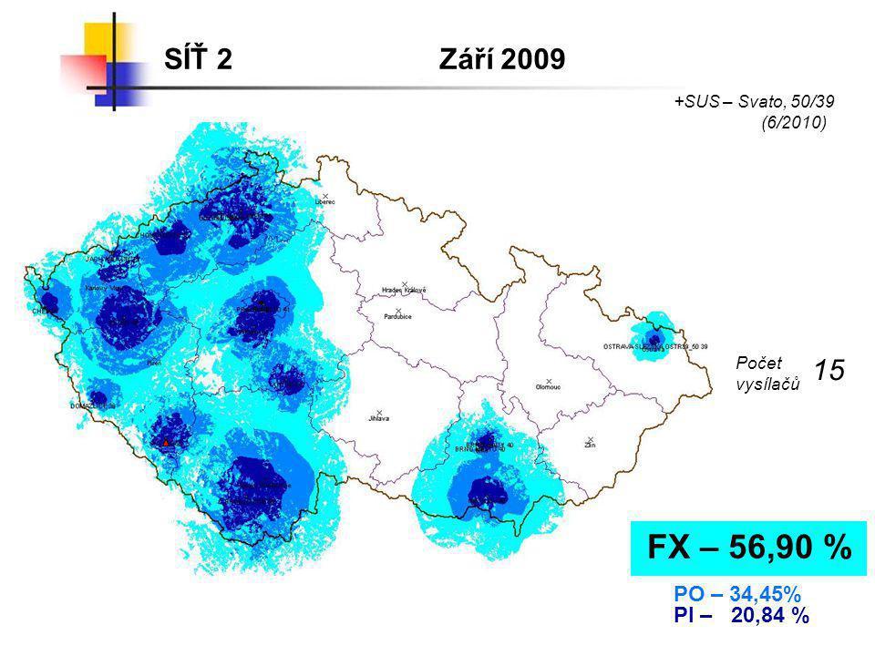 SÍŤ 2 Září 2009. +SUS – Svato, 50/39. (6/2010) Počet. vysílačů. 15. FX – 56,90 % PO – 34,45%